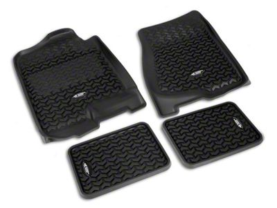 Rugged Ridge All-Terrain Front & 2nd Row Floor Mats - Black (07-13 Sierra 1500 Extended Cab, Crew Cab)