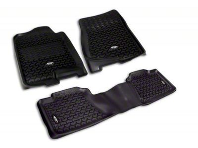 Rugged Ridge All-Terrain Front & 2nd Row Floor Liners - Black (07-13 Sierra 1500 Crew Cab)