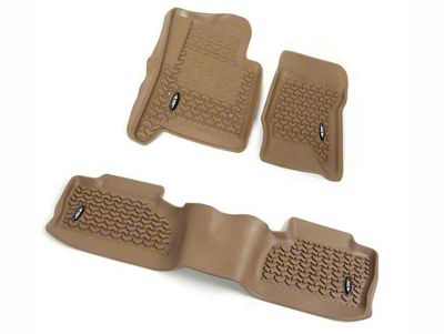 Rugged Ridge All-Terrain Front & 2nd Row Floor Liners - Tan (14-18 Sierra 1500 Crew Cab)