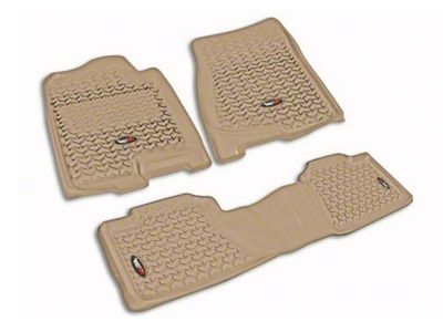 Rugged Ridge All-Terrain Front & 2nd Row Floor Liners - Tan (07-13 Sierra 1500 Extended Cab, Crew Cab)
