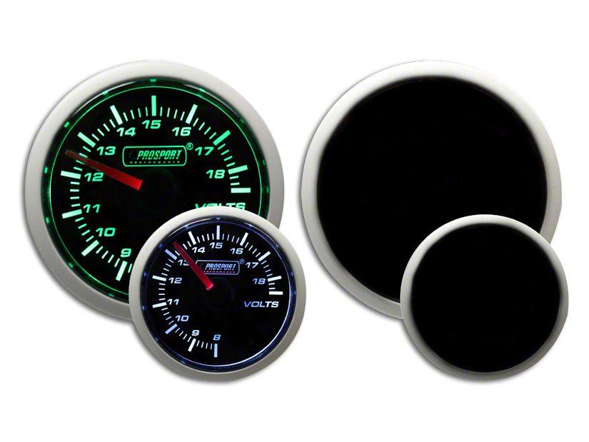 Prosport Dual Color Volt Gauge - Electrical - Green/White (07-18 Sierra 1500)