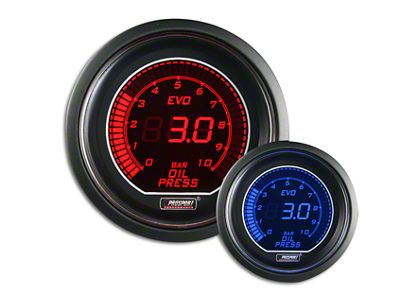 Prosport Dual Color Evo 0-10 BAR Oil Pressure Gauge - Electrical - Red/Blue (07-18 Sierra 1500)