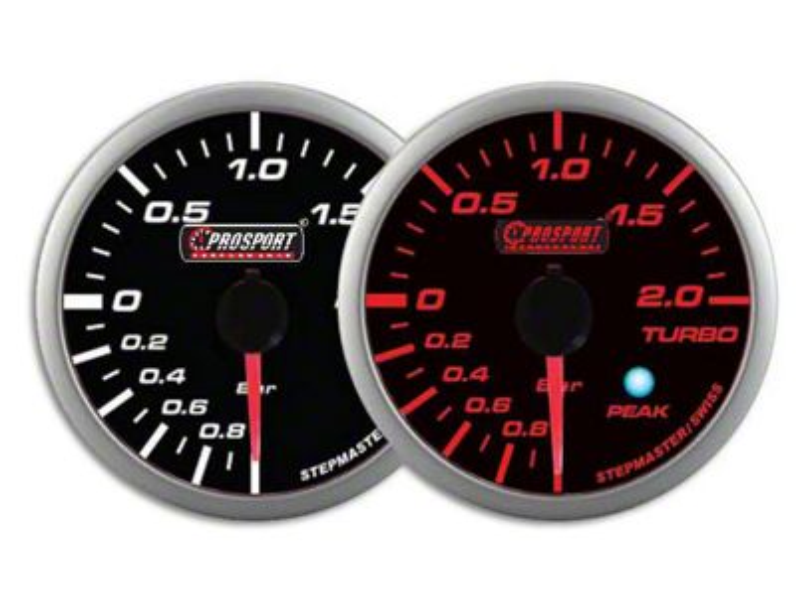 Prosport Dual Color Premium Metric Boost Gauge - Amber/White (07-18 Sierra 1500)