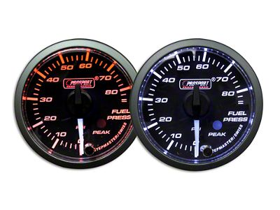 Prosport Dual Color Premium White Pointer Fuel Pressure Gauge - Amber/White (07-18 Sierra 1500)
