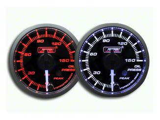 Prosport Dual Color Premium White Pointer Oil Pressure Gauge - Amber/White (07-18 Sierra 1500)