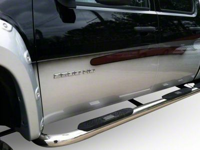Black Horse Off Road 4 in. Oval Side Step Bars - Polished (07-13 Sierra 1500 Crew Cab)