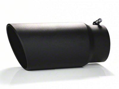 Black Horse Off Road 6 in. Rolled Edge Exhaust Tip - Black - 5 in. Connection (07-18 Sierra 1500)