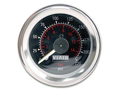 Viair Dual Needle Air Pressure Gauge - Black Face (07-18 Sierra 1500)
