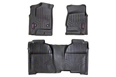 Rough Country Heavy Duty Front & Rear Floor Mats - Black (14-18 Sierra 1500 Double Cab)