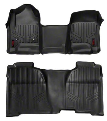 Rough Country Heavy Duty Front & Rear Floor Mats - Black (14-18 Sierra 1500 Crew Cab)