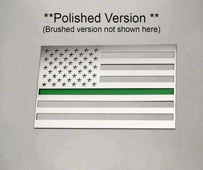 ACC Stainless Steel American Flag Emblem - Brushed w/ Thin Green Line (07-18 Sierra 1500)