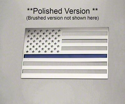 ACC Stainless Steel American Flag Emblem - Brushed w/ Thin Blue Line (07-18 Sierra 1500)