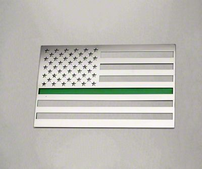 ACC Stainless Steel American Flag Emblem - Polished w/ Thin Green Line (07-18 Sierra 1500)