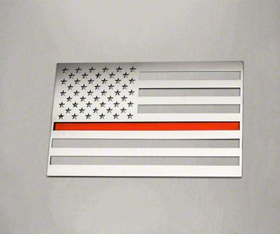 ACC Stainless Steel American Flag Emblem - Polished w/ Thin Red Line (07-18 Sierra 1500)