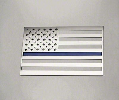 ACC Stainless Steel American Flag Emblem - Polished w/ Thin Blue Line (07-18 Sierra 1500)