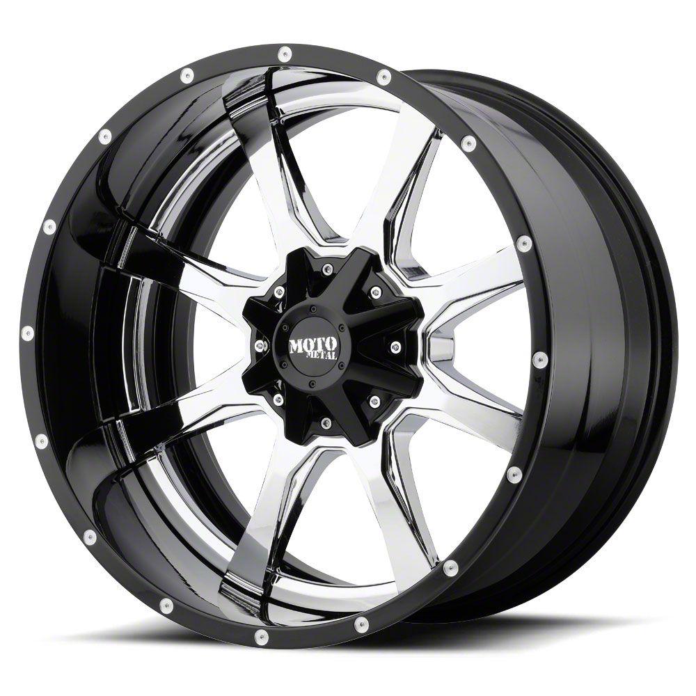 Moto Metal MO201 Chrome w/ Gloss Black Milled Lip 6-Lug Wheel - 20x12 (07-18 Sierra 1500)