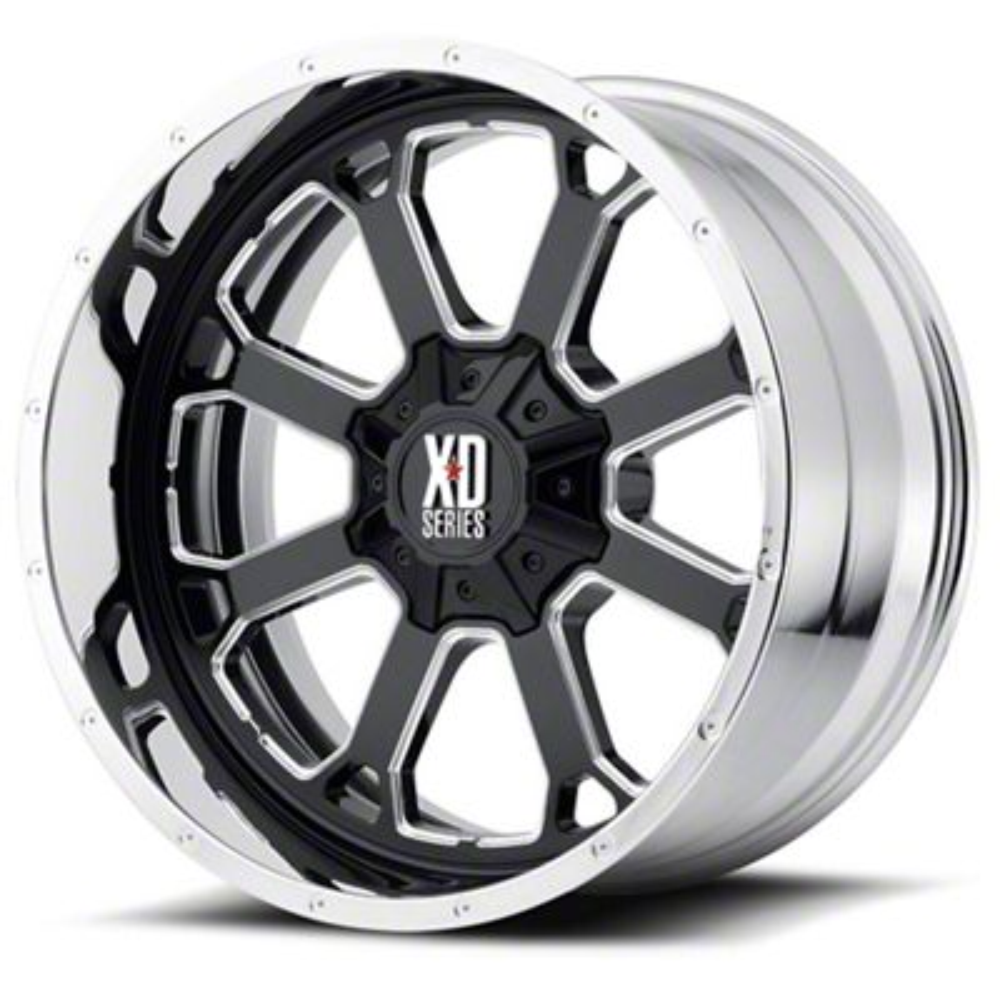 XD Buck 25 Gloss Black Milled w/ Chrome Lip 6-Lug Wheel - 20x12 (07-18 Sierra 1500)