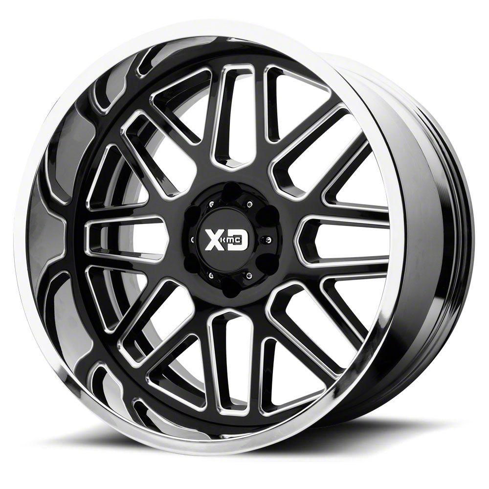 XD Grenade Gloss Black Milled w/ Chrome Lip 6-Lug Wheel - 22x10 (07-18 Sierra 1500)