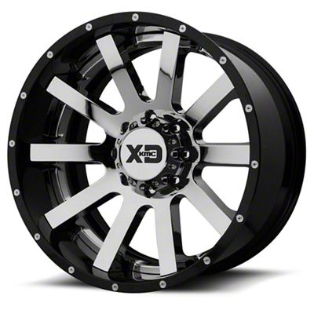 XD Heist Chrome w/ Gloss Black Milled 6-Lug Wheel - 22x12 (07-18 Sierra 1500)