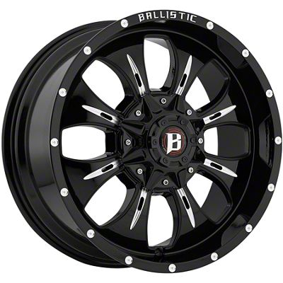 Ballistic Dagger Gloss Black Milled 6-Lug Wheel - 20x9 (07-18 Sierra 1500)