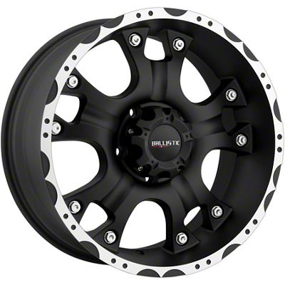 Ballistic Hostel Flat Black Machined 6-Lug Wheel - 17x9 (07-18 Sierra 1500)