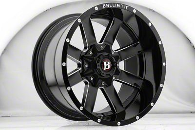 Ballistic Rage Gloss Black Milled 6-Lug Wheel - 22x12 (07-18 Sierra 1500)