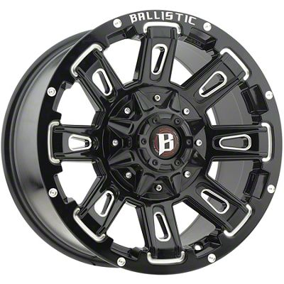 Ballistic Ravage Gloss Black Milled 6-Lug Wheel - 22x9.5 (07-18 Sierra 1500)