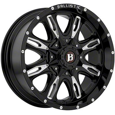 Ballistic Scythe Gloss Black Milled 6-Lug Wheel - 20x9 (07-18 Sierra 1500)
