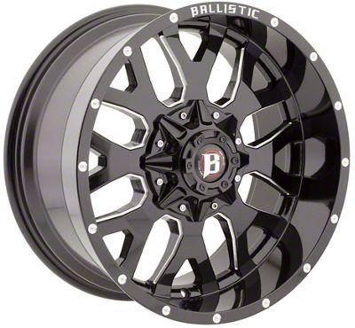 Ballistic Tank Gloss Black Milled 6-Lug Wheel - 20x9 (07-18 Sierra 1500)