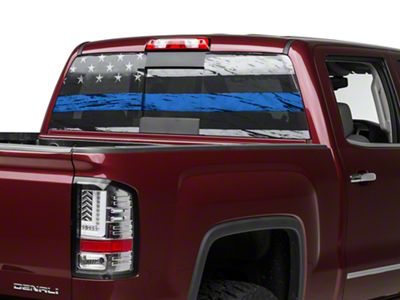 Perforated Real Flag Rear Window Decal w/ Blue Line (07-19 Sierra 1500)