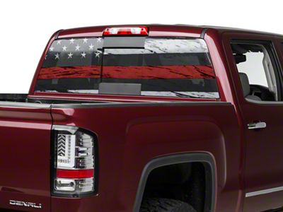 Perforated Real Flag Rear Window Decal w/ Red Line (07-19 Sierra 1500)