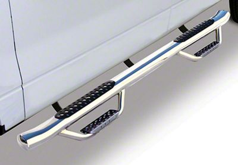 Go Rhino Dominator D4 Cab Length Side Step Bars - Stainless Steel (14-18 Sierra 1500 Double Cab)