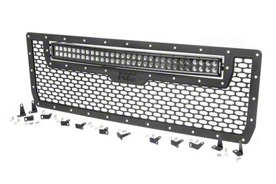 Rough Country Mesh Upper Grille Insert w/ 30 in. Black Series LED Light Bar - Black (14-15 Sierra 1500)