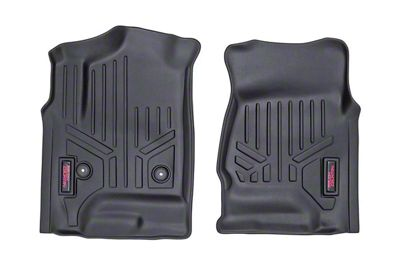 Rough Country Heavy Duty Front & Rear Floor Mats - Black (14-18 Sierra 1500 Double Cab, Crew Cab)