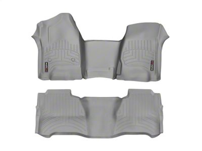 Weathertech DigitalFit Front & Rear Floor Liners - Over The Hump - Gray (14-18 Sierra 1500 Crew Cab)