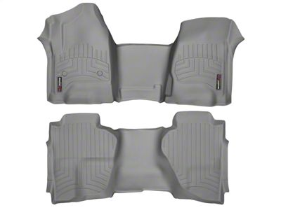 Weathertech DigitalFit Front & Rear Floor Liners - Over The Hump - Gray (14-18 Sierra 1500 Double Cab)