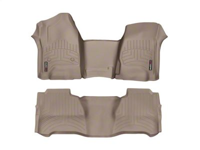 Weathertech DigitalFit Front & Rear Floor Liners - Over The Hump - Tan (14-18 Sierra 1500 Crew Cab)