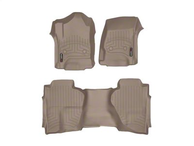 Weathertech DigitalFit Front & Rear Floor Liners - Tan (14-18 Sierra 1500 Double Cab w/ Floor Mounted Shifter)