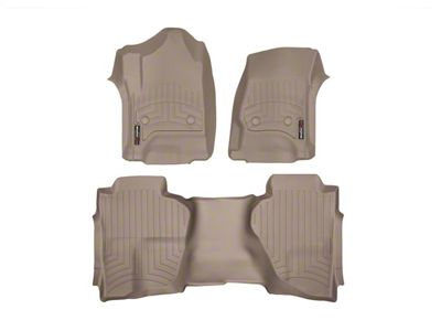 Weathertech DigitalFit Front & Rear Floor Liners - Tan (14-18 Sierra 1500 Double Cab w/o Floor Mounted Shifter)