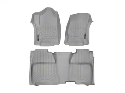 Weathertech DigitalFit Front & Rear Floor Liners w/ Underseat Coverage - Gray (14-18 Sierra 1500 Crew Cab)