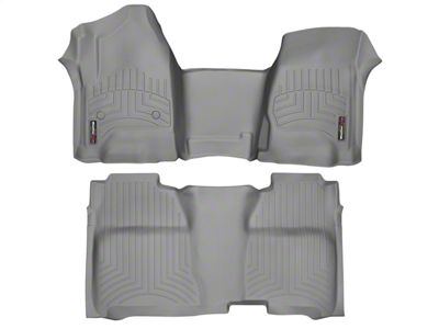 Weathertech DigitalFit Front & Rear Floor Liners w/ Underseat Coverage - Over The Hump - Gray (14-18 Sierra 1500 Crew Cab)