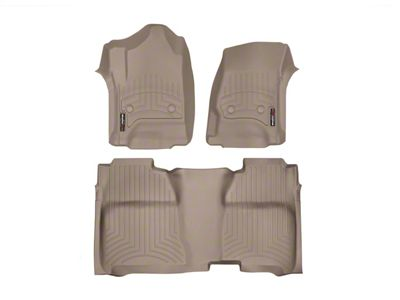 Weathertech DigitalFit Front & Rear Floor Liners w/ Underseat Coverage - Tan (14-18 Sierra 1500 Crew Cab)