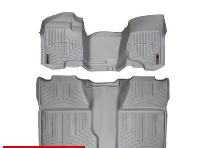 Weathertech DigitalFit Front & Rear Floor Liners - Over The Hump - Gray (07-13 Sierra 1500 Crew Cab)