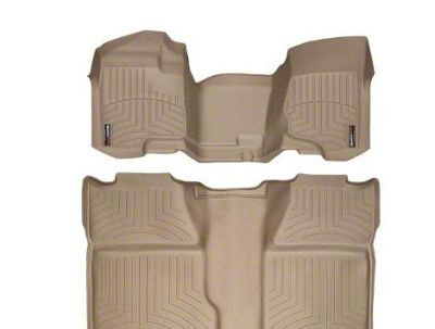 Weathertech DigitalFit Front & Rear Floor Liners - Over The Hump - Tan (07-13 Sierra 1500 Crew Cab)