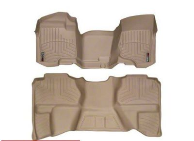 Weathertech DigitalFit Front & Rear Floor Liners - Over The Hump - Tan (07-13 Sierra 1500 Extended Cab)