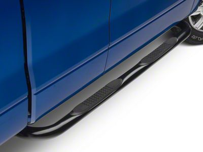 Barricade 3 in. Round Curved Side Step Bars - Gloss Black (09-14 F-150)
