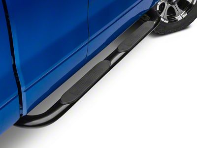 Barricade 4 in. Oval Curved Side Step Bars - Gloss Black (09-14 F-150)