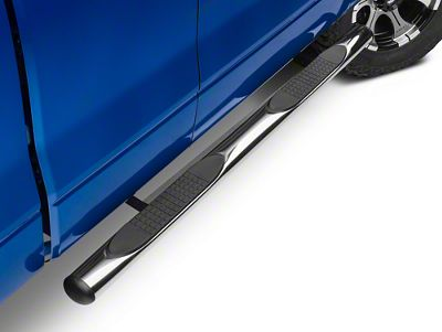 Barricade 4 in. Oval Straight Side Step Bars - Stainless Steel (09-14 F-150)