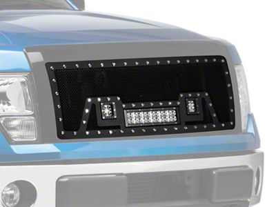 Modern Billet Stainless Steel Upper Replacement Grille w/ LED Lights - Black (09-14 F-150, Excluding Raptor)