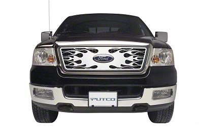Putco Flaming Inferno Stainless Steel Upper Overlay Grille w/ Emblem Cutout - Polished (04-08 F-150 XL, XLT, Lariat)